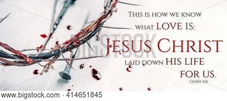 Christian Crown Of Thorns With Drops Of Blood, Nails On Grey Background. Good Friday, Passion Of Jes