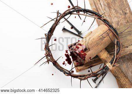 Crown Of Thorns And Bloody Nails Isolated On White. Good Friday, Passion Of Jesus Christ. Christian