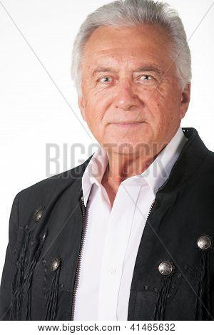 Senior Citizen Portrait In Black Leather Jacket