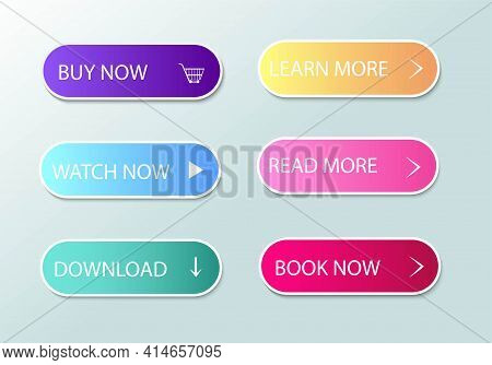 Set Of Buttons For Applications. Vector Image. Web Site User Interface. Download, Find Out More, Buy
