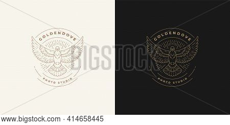 Flying Pigeon Logo Emblem Design Template Vector Illustration In Minimal Line Art Style