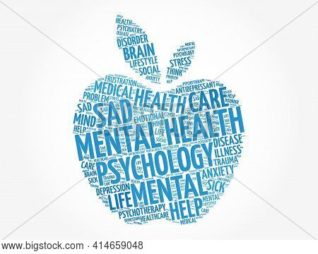 Mental Health Apple Word Cloud, Fitness, Sport, Health Concept Background