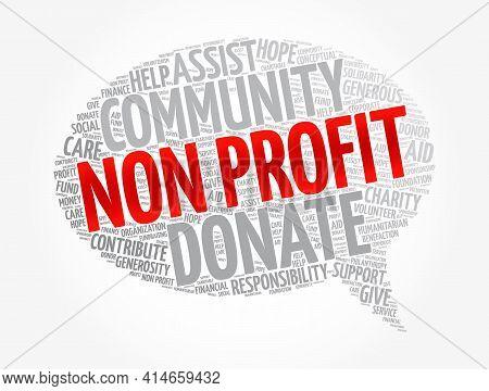 Non Profit Message Bubble Word Cloud, Social Concept Background