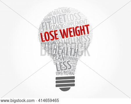 Lose Weight Light Bulb Word Cloud Collage, Health Concept Background