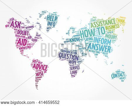How To - Word Cloud In Shape Of World Map, Business Concept Background