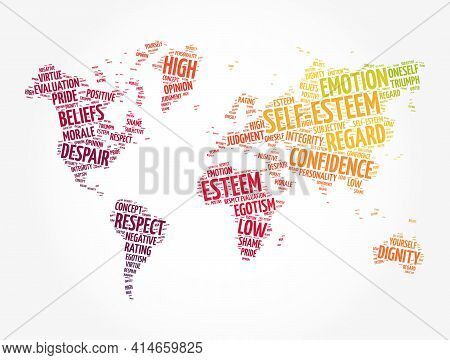 Self-esteem Word Cloud In Shape Of World Map, Concept Background