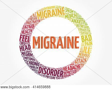 Migraine - Word Cloud, Health Concept Background