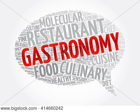 Gastronomy Message Bubble Word Cloud Collage, Concept Background