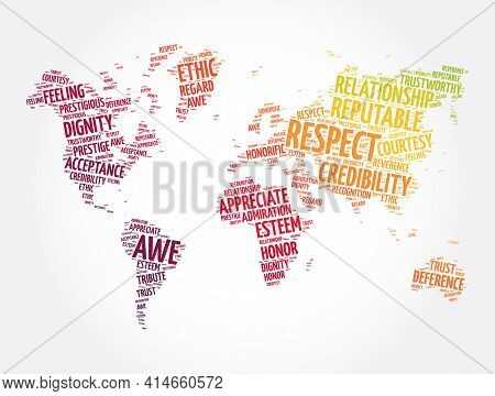 Respect Word Cloud In Shape Of World Map, Concept Background
