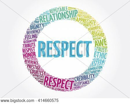 Respect Circle Word Cloud Collage, Concept Background