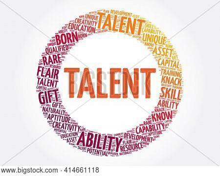 Talent Circle Word Cloud Collage, Concept Background