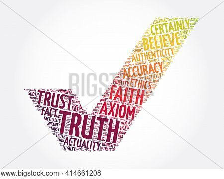 Truth Check Mark Word Cloud Collage, Concept Background
