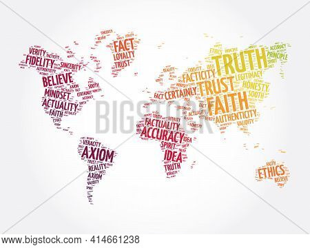 Truth Word Cloud In Shape Of World Map, Concept Background
