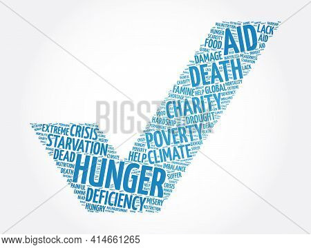Hunger Check Mark Word Cloud Collage, Concept Background