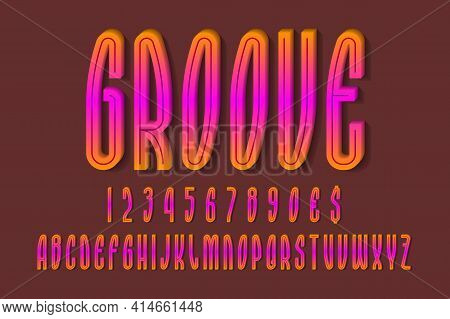 Volumetric Orange Pink Alphabet, Numbers And Currency Signs With Middle Groove. 3d Display Font.