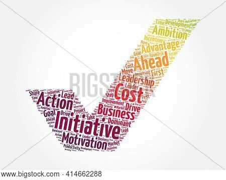 Initiative Check Mark Word Cloud Collage, Concept Background