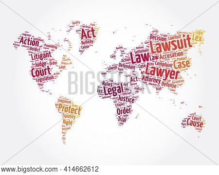 Lawsuit Word Cloud In Shape Of World Map, Law Concept Background