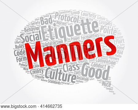 Manners Message Bubble Word Cloud Collage, Concept Background