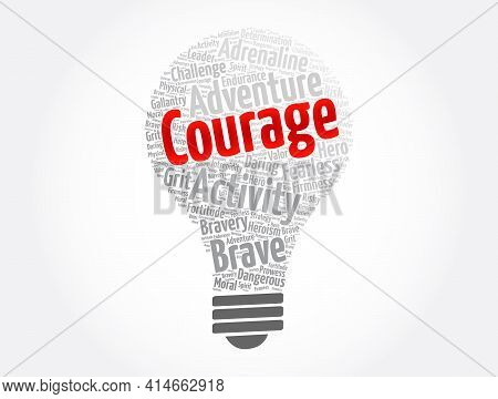 Courage - Word Cloud Collage, Concept Background