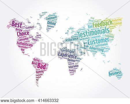 Testimonials Word Cloud In Shape Of World Map, Concept Background