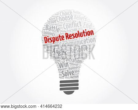 Dispute Resolution Light Bulb Word Cloud Collage, Concept Background