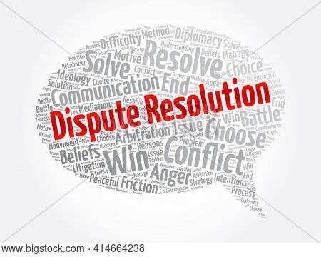 Dispute Resolution Message Bubble Word Cloud Collage, Concept Background