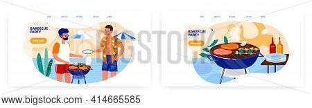 Barbecue Party Landing Page Design, Website Banner Vector Template Set. Summer Outdoor Picnic.