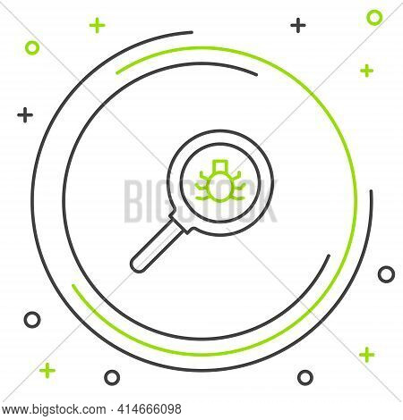 Line Flea Search Icon Isolated On White Background. Colorful Outline Concept. Vector