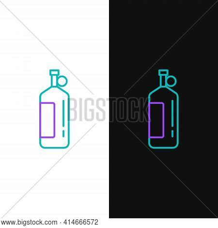 Line Aqualung Icon Isolated On White And Black Background. Oxygen Tank For Diver. Diving Equipment.
