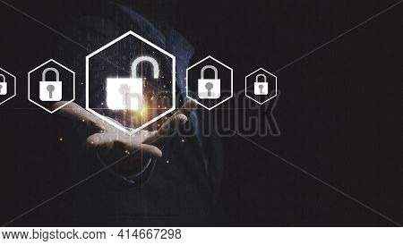 Businessman Holding Unlock Master Key With Lock Key For Access Technology Security Information Conce