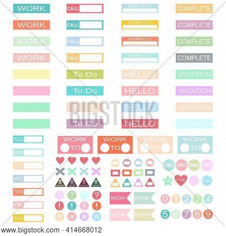 Design Work Planner Stickers Headers. Vector Set Of Label Template For Schedule, Organiser And Calen