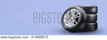 Summer Tires And Wheels-stack On Blue Background, New Wheels Long Blank Layout Copyspace