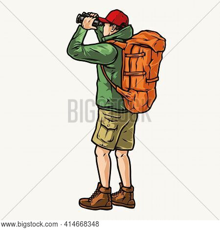 Tourist With Backpack Looking Through Binoculars In Vintage Style Isolated Vector Illustration