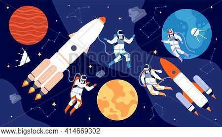 Space Explorer Set. Moving Characters, Cosmonaut Cartoon In Galaxy. Spaceman Flying To Moon, Astrona