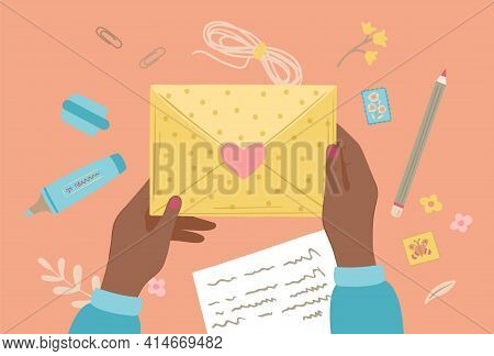 Cartoon Letter Writing. Hand Prepare Letters, Postal Graphic Elements. Color Envelope, Writing Messa
