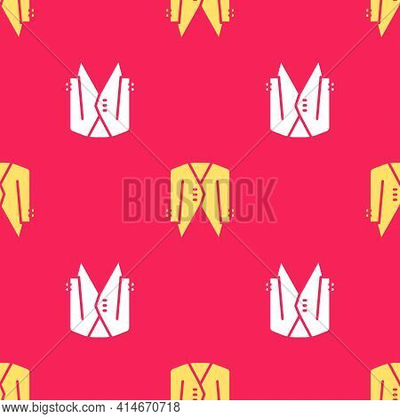 Yellow Suit Icon Isolated Seamless Pattern On Red Background. Tuxedo. Wedding Suits With Necktie. Ve