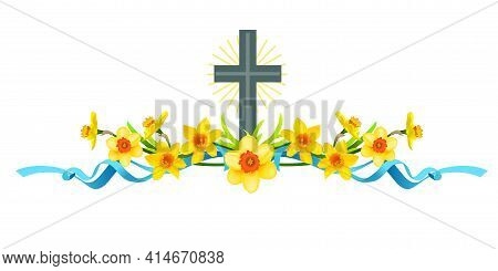 Spring Holiday Floral Borders Set With Daffodils And Cross. Design Elements For Decorate Card, Banne