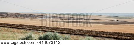 Rural Landscape Field In Rustic Style On Yellow Background. Natural Scenery Panorama. Countryside Su