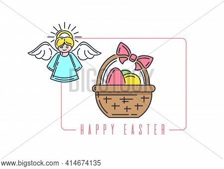 Easter Line Logo Icon With Angel And Basket With Easter Eggs. Vector Illustration