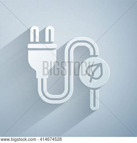 Paper Cut Electric Saving Plug In Leaf Icon Isolated On Grey Background. Save Energy Electricity. En