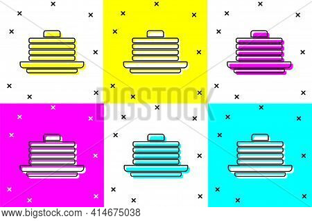 Set Stack Of Pancakes Icon Isolated On Color Background. Baking With Syrup And Cherry. Breakfast Con