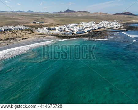 Aerial View Of Famara At Lanzarote On Canary Islands, Spain
