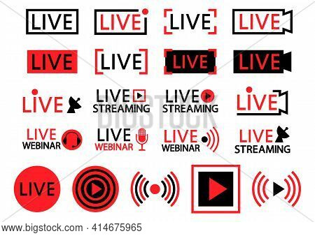 Set Of Live Streaming Icons. Black And Red Symbols And Buttons Of Live Streaming, Broadcasting, Onli