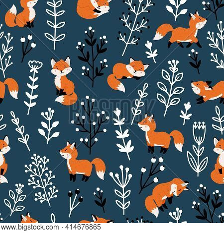 Funny Foxes Seamless Pattern. Cartoon Funny Emotional Animals And Blooming Branches, Orange Mammals