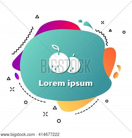 White Tangerine Icon Isolated On White Background. Merry Christmas And Happy New Year. Abstract Bann