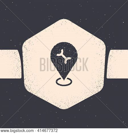 Grunge Car Service Icon Isolated On Grey Background. Auto Mechanic Service. Repair Service Auto Mech