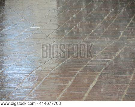 Rain Over A Tiled Floor Tiles Useful As A Background