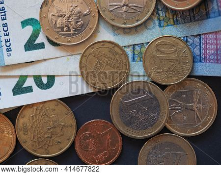 Euro Banknotes And Coins (eur), Currency Of European Union