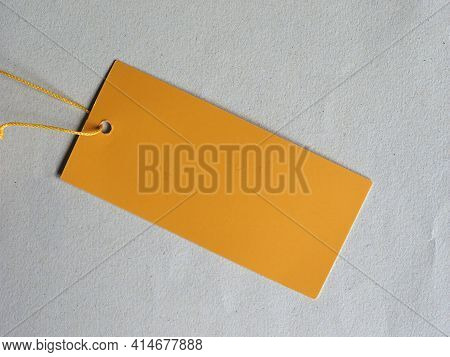 Blank Yellow Tag Label With Copy Space