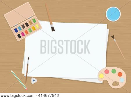 Vector Illustration With Sheets Of Paper, Brushes, And Palette. Flat Cartoon Style, Top View. For Po
